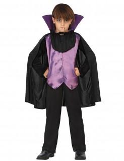 Junger Vampir Halloween-Kostüm für Kinder schwarz-lila
