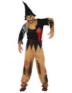 Gruselige Vogelscheuche Halloween Herrenkostüm braun-schwarz