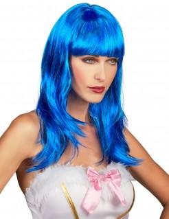 Langhaar-Frauenperücke mit Pony gewellt blau