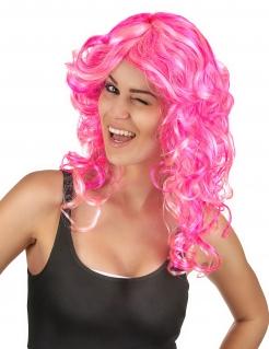 Locken Langhaarperücke für Damen pink