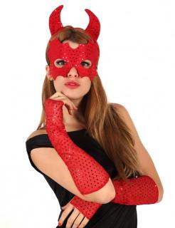 Pailletten-Teufelsset Halloween-Accessoires für Damen 4-teilig rot