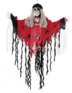 Piraten-Skelett Halloween-Deko Hängefigur rot-schwarz 90x76cm