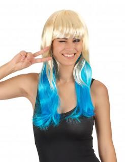 Damen Langhaarperücke blond-blau