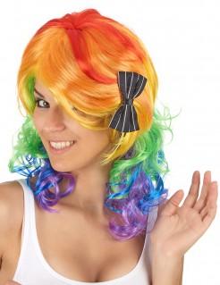 Mittellange Damenperücke Regenbogen mit Schleife bunt