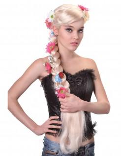 Hippie Zopfperücke mit Blumen blond-bunt