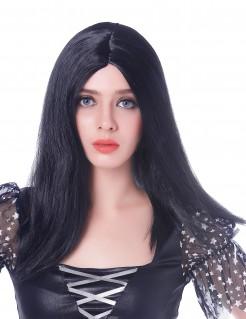 Lange glatte Damen-Perücke Mittelscheitel schwarz