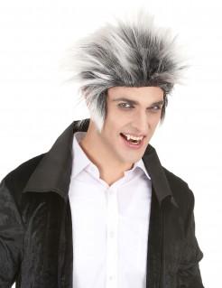 Kurzhaar Perücke für Männer hochstehend Halloween Kostümaccessoire schwarz-weiss