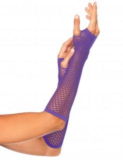 Netzstulpen fingerlose Handschuhe violett