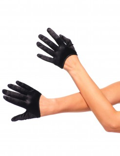 Satin Halb-Handschuhe Damen schwarz