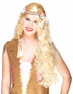 Lange Hippie Damen-Perücke Locken blond