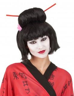 Geisha Damenperücke schwarz-rot-rosa