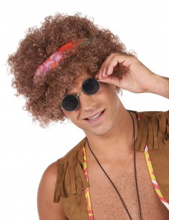 Hippie-Perücke Afro-Perücke mit Kopfband braun