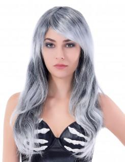 Damen-Perücke lang gewellt grau