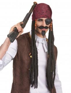 Piraten Herren-Perücke mit Dreadlocks schwarz-bunt