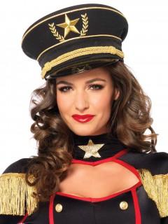 Militär Mütze Schildmütze schwarz-gold