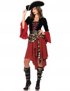 Verruchte Piratin Damenkostüm Kapitänin rot-schwarz-gold