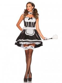 Verführerisches Zimmermädchen Damenkostüm schwarz-weiss