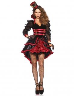 Heisse Steampunk Vampirin Damenkostüm schwarz-rot