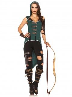 Mittelalter-Kriegerin Bogenschützin Damenkostüm schwarz-grün