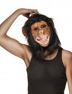 Affe Latex-Maske schwarz-braun