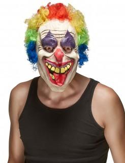 Horrorclown-Maske mit ausgestreckter Zunge Psychoclown-Maske weiss-bunt