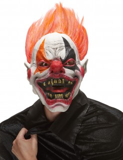 Höllenclown-Maske Horrorclown-Latexmaske weiss-bunt