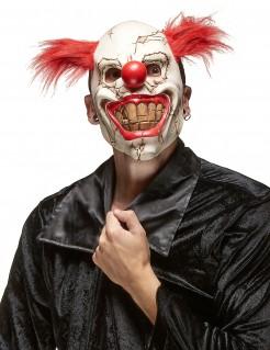 Brüchige Clownsmaske Horrorclown-Halbmaske weiss-rot