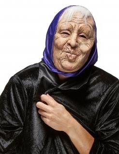 Alte Frau Maske Märchen-Maske beige-weiss-lila