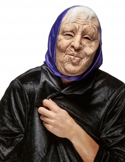 Alte Frau Maske Märchen-Maske hautfarben-weiss-lila