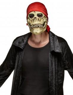 Pirat Totenkopf-Maske beige-rot