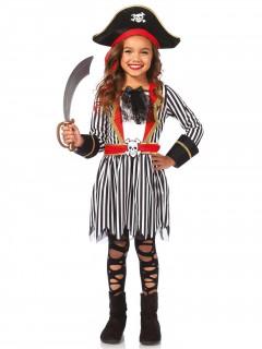 Piratenmädchen-Kostüm Kinder schwarz-weiss