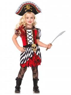 Piraten Kapitänin Kinderkostüm rot-schwarz-weiss