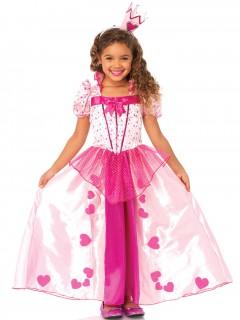 Märchen-Prinzessin Kinderkostüm Herzen pink-rosa