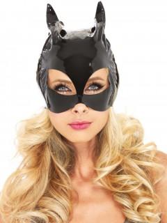 Verruchte Katze Lack-Halbmaske schwarz