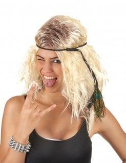 Schulterlange Hippieperücke mit Kopfband gewellt blond