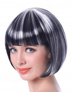 Halloween Kurzhaar-Perücke für Damen schwarz-weiss