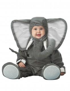 Kostüm Elefant für Babys grau-weiss