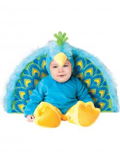 Süsses Pfau Babykostüm Premium blau-gelb