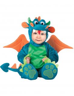 Niedlicher Drache Babykostüm blau-grün
