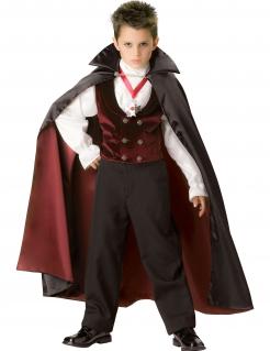 Kleiner Vampirgraf Dracula Halloweenkostüm für Kinder schwarz-weiss-rot