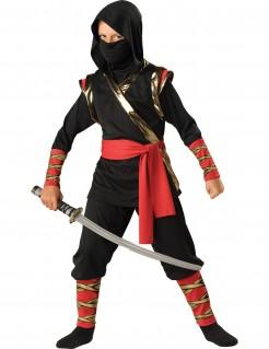 Kostüm Ninja Premium für Kinder schwarz-rot-gold
