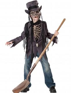 Grabräuber Zombie Skelett Halloween-Kinderkostüm für Jungen grau-schwarz-beige