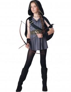 Bogenschützin Mittelalter Kinderkostüm grau-schwarz-gold