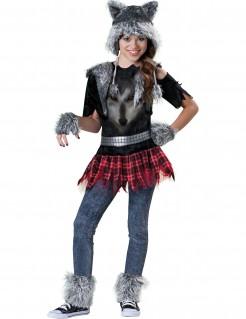 Mädchen Wolf Kostüm bunt
