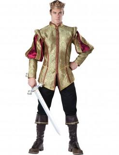 Herrenkostüm König gold-schwarz-rot