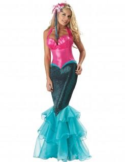 Meerjungfrau-Damenkostüm Seejungfrau pink-blau