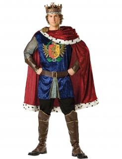 König Mittelalter Kostüm blau-bordeaux