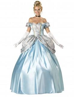 Kostüm Ballkleid für Damen Deluxe hellblau-weiss-gold