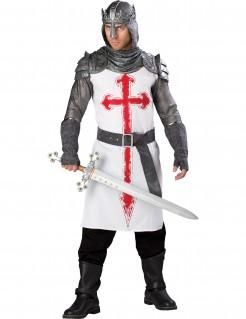 Kostüm Kreuzritter für Herren Deluxe silber-weiss-rot