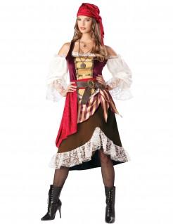 Edle Piratin Seeräuberinnen-Damenkostüm braun-weiss-rot
